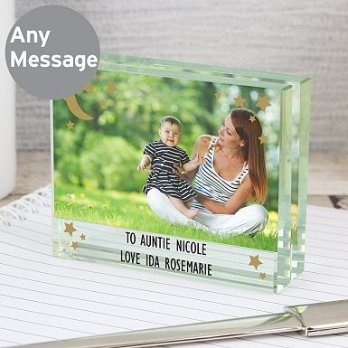 Personalised To the Moon and Back Crystal Photo Block Frame