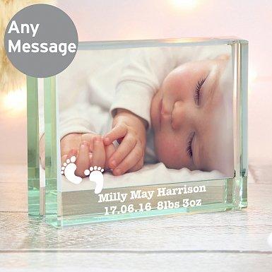 Personalised Footprints Crystal Photo Block Frame