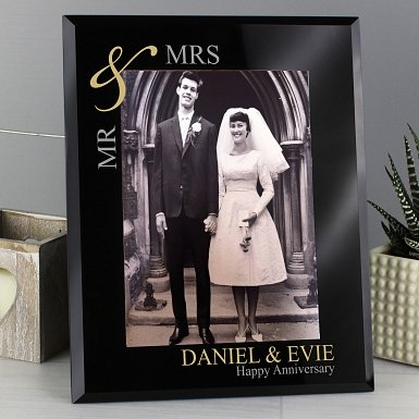 Personalised Gold Couple's 5x7 Black Glass Photo Frame