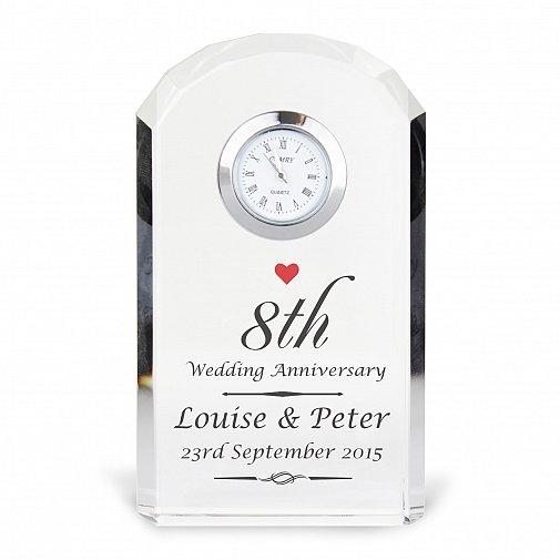 Personalised Heart Motif Crystal Clock