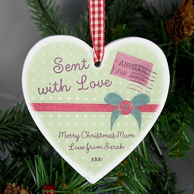 Personalised Sent With Love Wooden Heart Decoration