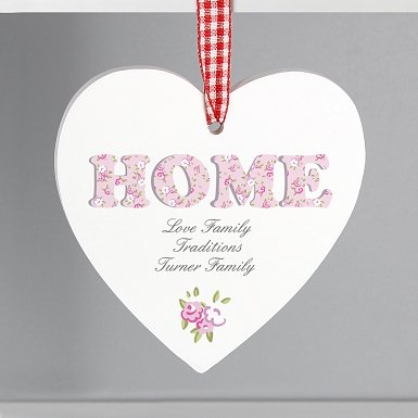 Personalised Floral Design  Home Wooden Heart Decoration