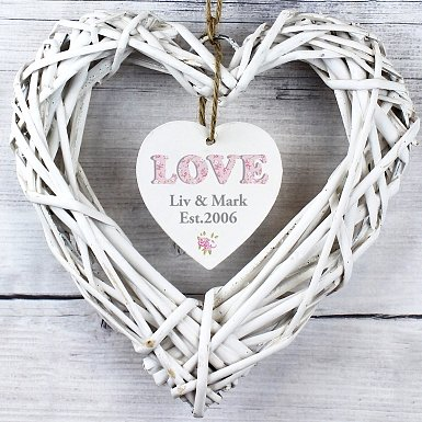 Personalised Floral Design Love Wicker Heart UK [United Kingdom]