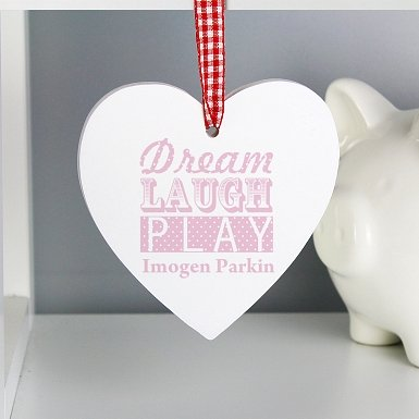 Personalised Dream Pink Wooden Heart Decoration