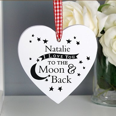 Personalised To the Moon and Back Wooden Heart Decoration