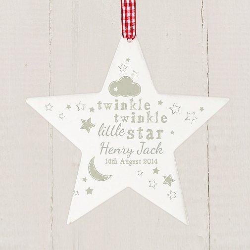 Personalised Twinkle Twinkle Wooden Star Decoration