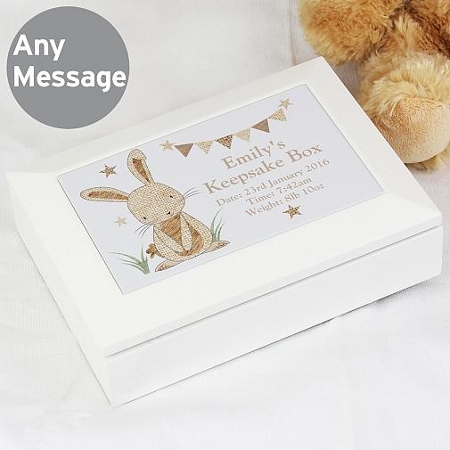 Personalised Hessian Rabbit Wooden Jewellery Box