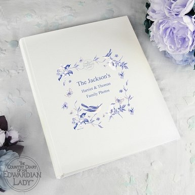 Personalised Country Diary Blue Blossom Wooden Heart Decoration