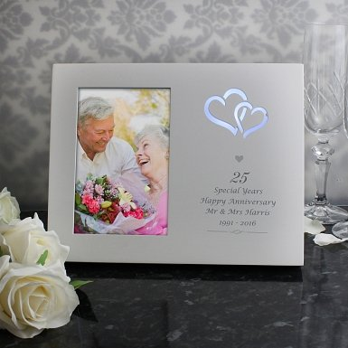 Personalised Silver Hearts 4x6 Light Up Frame UK [United Kingdom]