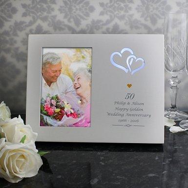 Personalised Gold Hearts 4x6 Light Up Frame UK [United Kingdom]
