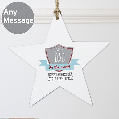 Personalised No.1 Shield Wooden Star Decoration