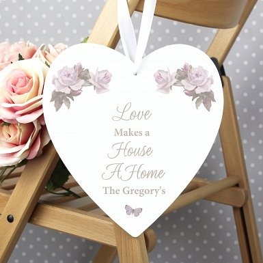 Personalised Vintage Floral Large Wooden Heart Decoration