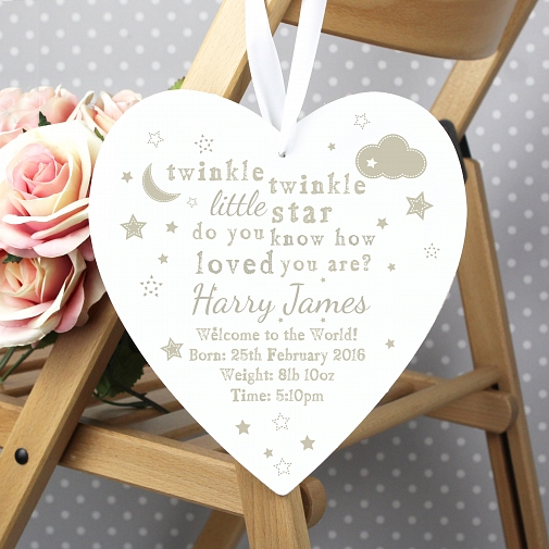 Personalised Twinkle Twinkle Large Wooden Heart Decoration