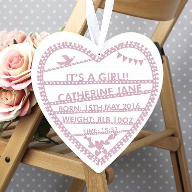 Personalised Pink Papercut Large Wooden Heart Decoration UK [United Kingdom]