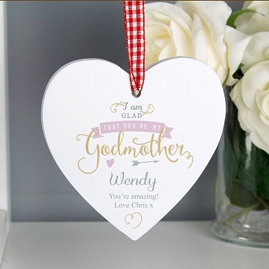 Personalised I Am Glad... Godmother Wooden Heart Decoration