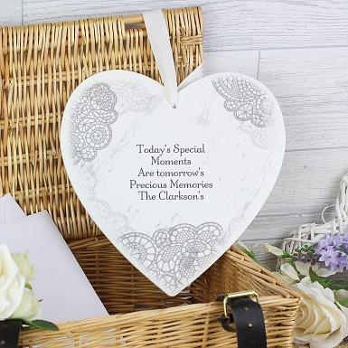 Personalised Dainty Lace Large Wooden Heart Decoration UK [United Kingdom]