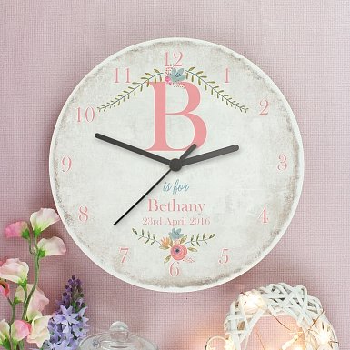 Personalised Floral Bouquet Shabby chick Large Wooden Clock