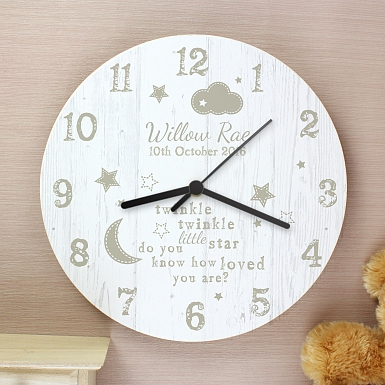 Personalised Twinkle Twinkle Shabby chick Large Wooden Clock