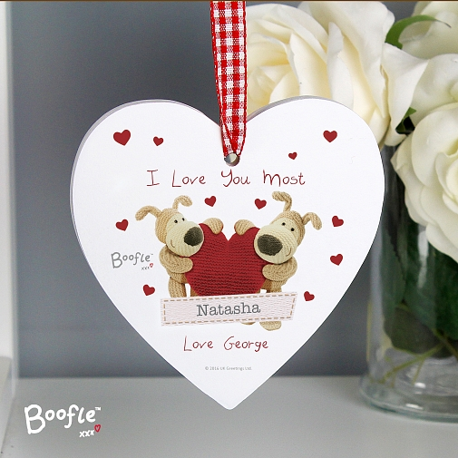 Personalised Boofle Shared Heart Wooden Heart Decoration UK [United Kingdom]