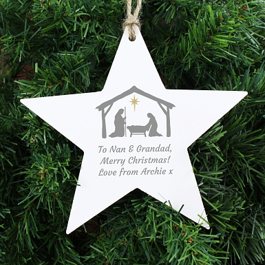 Personalised Nativity Wooden Star Decoration