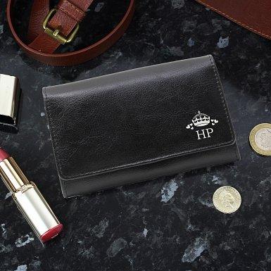 Personalised Crown Black Leather Purse