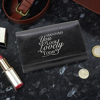 Personalised You Look Lovely Black Purse