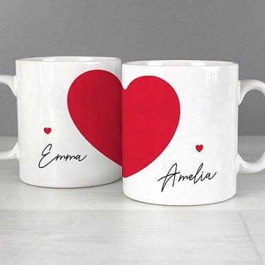 Personalised Two Hearts Mug Set