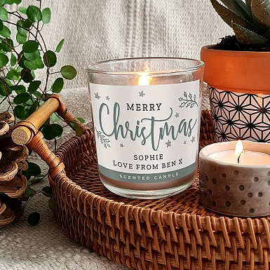 Personalised Merry Christmas Scented Jar Candle