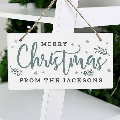 Personalised Merry Christmas White Wooden Sign
