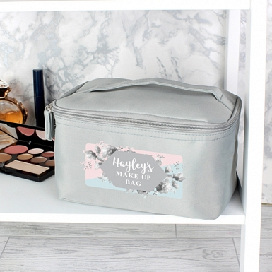 Personalised Floral Grey Make Up Wash Bag Delivery to UK