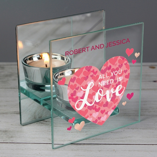 Personalised Confetti Hearts Glass Tea Light Candle Delivery to UK