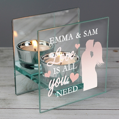 Personalised Mirrored Glass Tea Light Holder Delivery to UK